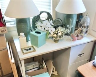 lamps, decor, frames, photo albums, desk with filing cabinet, candles