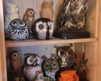 Owl collection, Taxidermy owl, pottery, etc