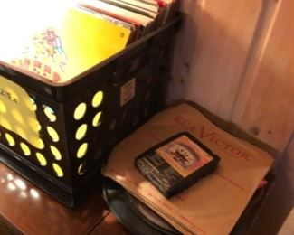 Records, vintage LP Vinyl collection and turntable