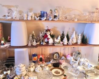Vintage collectible decor, crystal, xmas, china, pottery and more