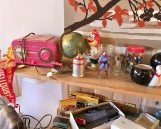 Vintage pink stereo, Superman glass, bowling items, marble collection, pennants, Tonka, Fresh up Freddie, more