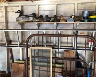 full size bed frame, antique duck decoys