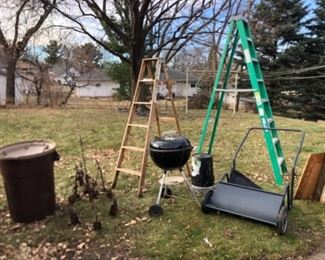 Yard tools, ladders, webber grill, more