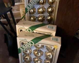 Large selection gold ball ornaments (6 boxes)