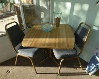 Table and chairs set, with drop down sides on table $60
