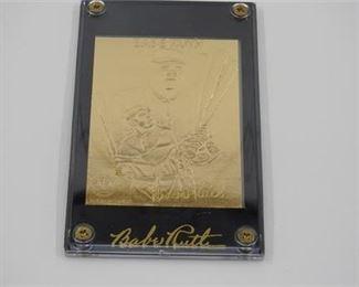 Lot 012 1996 Babe Ruth 22K gold plated baseball card