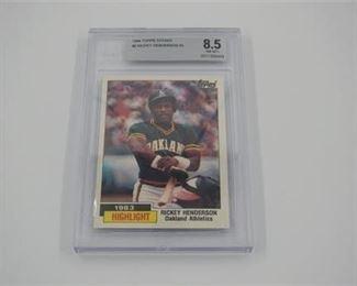 Lot 002 1984 Topps Tiffany Rickey Henderson # 2 Beckett graded 8.5 baseball card