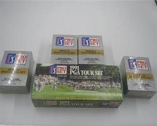 Lot 030 New 1991 PGA tour card set + 4 Pro set Inaugural set