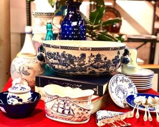 1. $130. Large chinoiserie footbath  2. Small delft pieces $10 each 3. $45. Signed sailboat oval dish  4. $35. BLENKO cobalt small dish