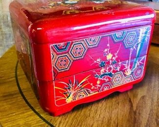 """$45. 7 x7 x 5.5 tall. Vintage japanese painted acrylic layered """"snacking box"""" two trays. beautiful design and great colors."""