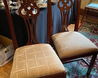 $30.00    A pair of newer chairs in the Chippendale style