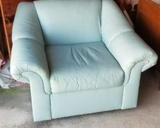 Pale green leather chair