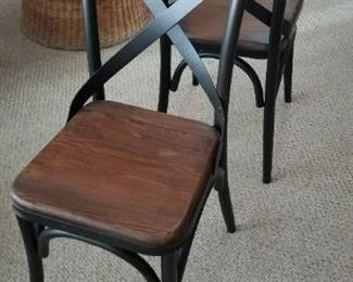 Industrial-chic wrought iron & wood chairs