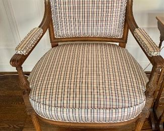 "$495; Pair of Upholstered Louis XVI arm chairs, 36"" H x 24"" W x 21.5"" D, seat height is 18.5"", as is some slight stains"