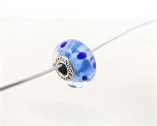 Authentic PANDORA#590710 Oversized Murano Blue Flower Charm Bead