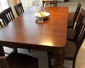 solid cherry dining room table with 8 chairs - $1200