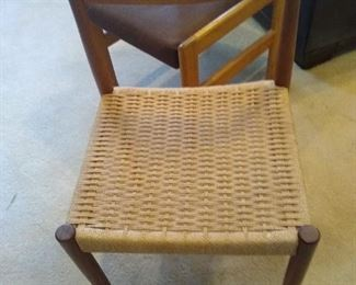 Danish modern chair with rush seat by Paul Volther