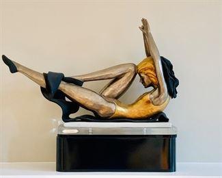 "$475; Gianni Visentin (Italian 1938-2010); Ballerina ceramic sculpture on base. Linea Platino 950/1000; 18"" H x 22"" L x 6"" D."