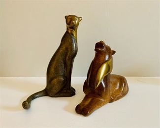Loet Vanderveen (Dutch 1921-2015); $495 Small seated cheetah #1 and $395 Roaring Lion; Brass