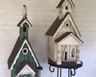 Birdhouses made from a demolished home in Mecklenburg County, Virginia.