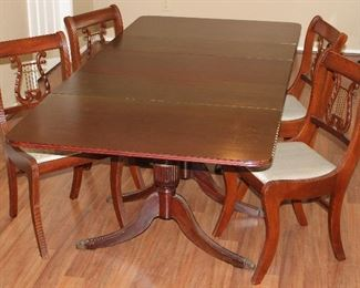 Duncan Phyfe Drop LeafTable w/1 additional leaf and 4 Lyre Back Side Chairs