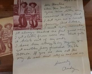 H. S. Andy Anderson Wood Carving The Judge & Jury Letter from Andy Anderson Signed