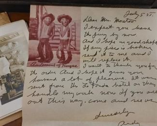 H. S. Andy Anderson Wood Carving The Judge & Jury Letter from Andy Anderson different and signed