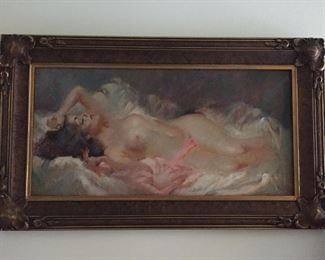 Available for pre-sale (714) 499-4199. Julian Ritter, 12 x 23 1/2, oil on masonite. Sold as a pair with previous painting, which was thought to be a study piece for this painting.