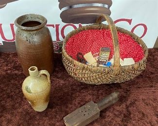 Pottery, Oak Basket, Primitive Strainer