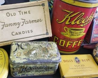 antique packaging, tins