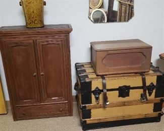 vintage trunk, side tables
