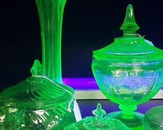 Uranium glass, vaseline glass, depression glass collection