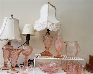 Pink depression glass lamps