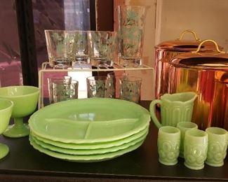 Jadeite, Rare McKee Laurel Divided Plates