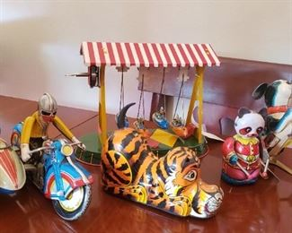 vintage and newer tin toys