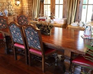 Nottingham Antiques stately table and chairs with Kravet leather and fabricut upholstery!