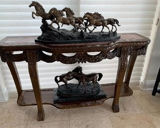 #9 Mahogany Console Table with Marble Top $300 Bronze Horses have sold