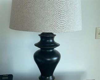 """Pair of 28.5"""" metal lamps with linen shades.  $80 pair."""