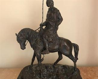 "$2,000 Bronze by French sculptor Pierre-Jules Mene, 22""Hx15.5""Wx9""D."