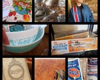 Home of engineer and small aircraft pilot, vintage clothing, many small collectibles, books, trains, airplane models, Mid-Century furniture, ephemera, tools, and so much more
