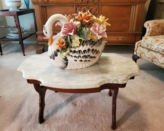 Antique marble top Coffee Table with Huge CAPODIMONTE Swan
