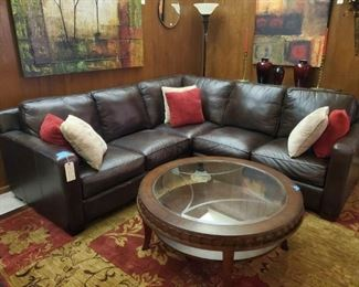 THOMASVILLE all real leather 3-piece SECTIONAL SOFA in LIKE NEW condition