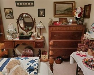 ANTIQUE TRESTLE BASE VANITY DRESSER & MIRROR with  MATCHING ANTIQUE CHEST of DRAWERS