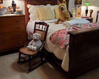 Wonderful 1800's golden oak FULL SIZE Bed...Antique Cane Rocker...Old Quilts