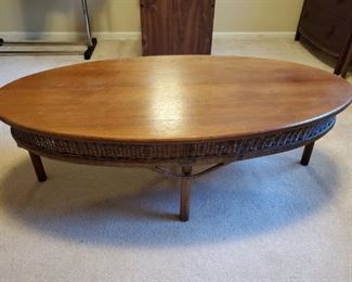 HEYWOOD WAKEFIELD Oval Coffee Table with Wicker Apron