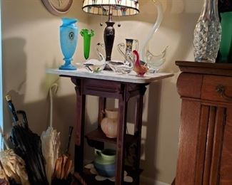 Antique Marble top Tall Lamp Table