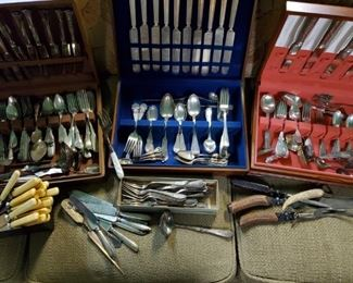 SOME of the OLD STERLING, COIN, & SILVERPLATED FLATWARE