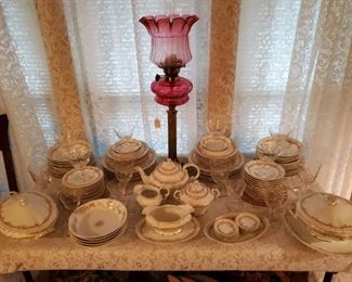 HAVILAND CHINA & ANTIQUE CRANBERRY LAMP