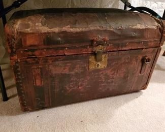 ANTIQUE LEATHER  BOUND STAGECOACH TRUNK from MID-1800'S
