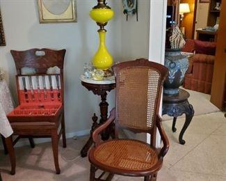 Antique Cane Rocker....Yellow parlor Lamp